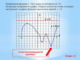 Непрерывная функция у = f(x) задана на интервале (-6; 7). На рисунке изображ