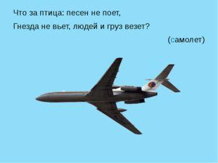 Что за птица: песен не поет, Гнезда не вьет, людей и груз везет? (самолет)
