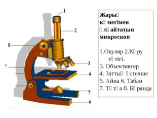 Жарық көмегімен ұлғайтатын микроскоп 1.Окуляр 2.Көру түтігі. 3. Объективтер 4