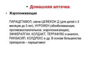 Домашняя аптечка Жаропонижающие ПАРАЦЕТАМОЛ, свечи ЦЕФЕКОН Д (для детей с 3 м