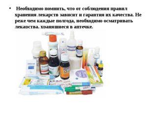 Необходимо помнить, что от соблюдения правил хранения лекарств зависит и гар
