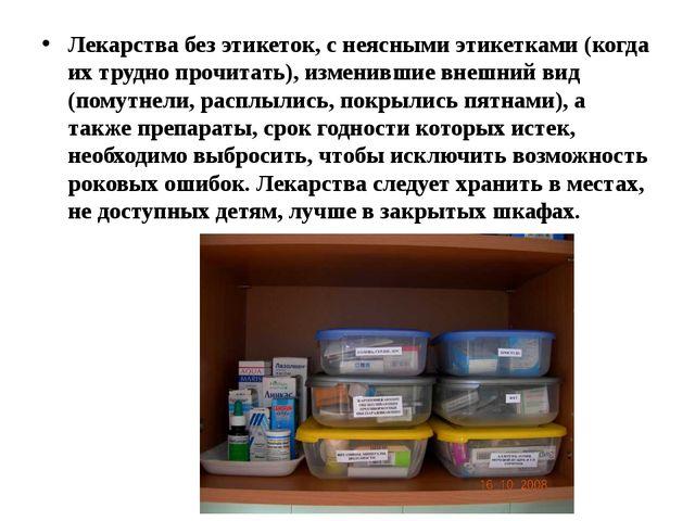 Лекарства без этикеток, с неясными этикетками (когда их трудно прочитать), из...