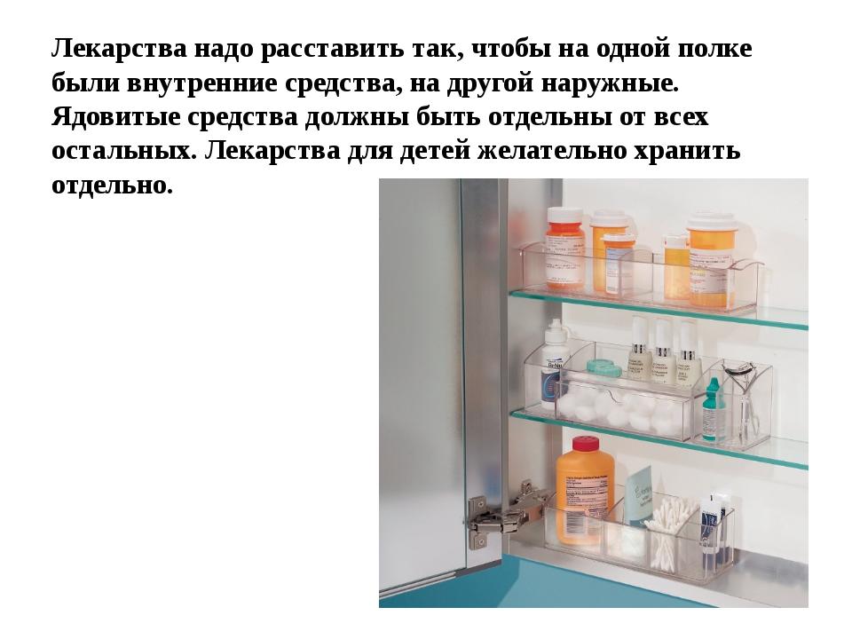Лекарства надо расставить так, чтобы на одной полке были внутренние средства,...