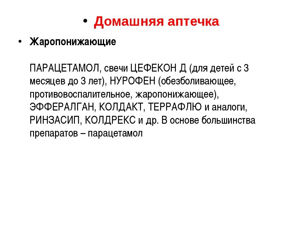Домашняя аптечка Жаропонижающие ПАРАЦЕТАМОЛ, свечи ЦЕФЕКОН Д (для детей с 3 м...