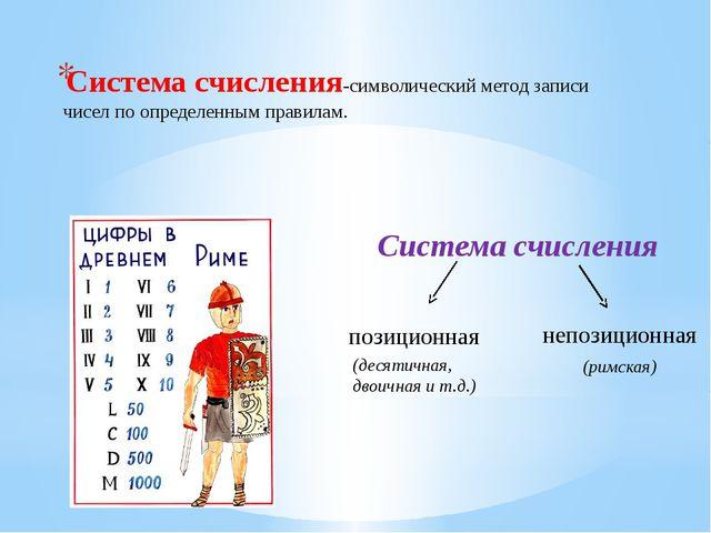 Система счисления-символический метод записи чисел по определенным правилам....