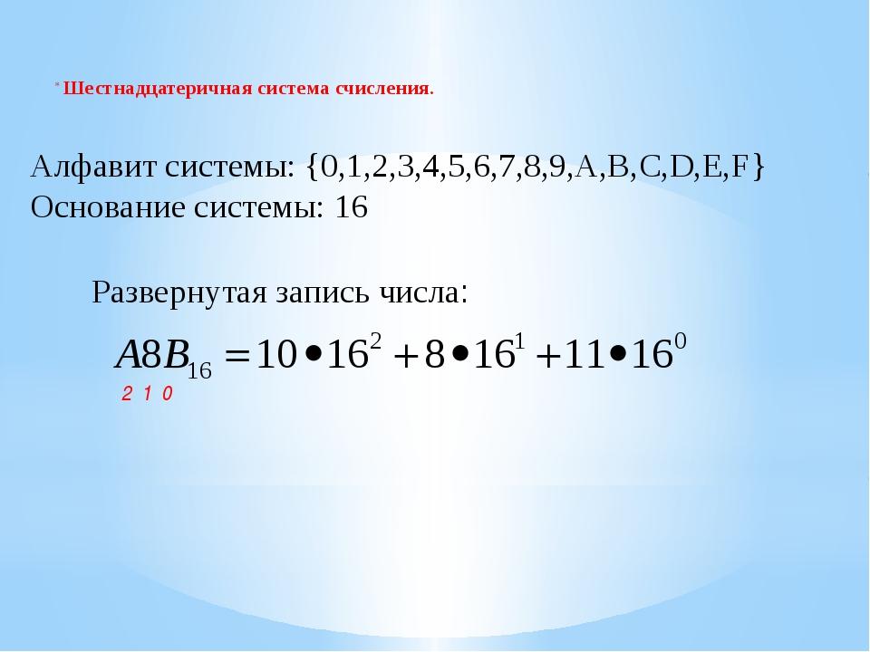 Шестнадцатеричная система счисления. Алфавит системы: {0,1,2,3,4,5,6,7,8,9,A...
