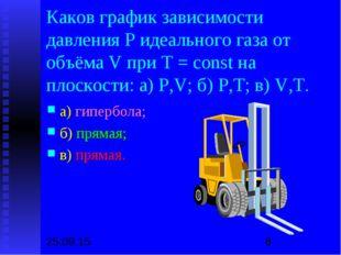 Каков график зависимости давления Р идеального газа от объёма V при Т = const