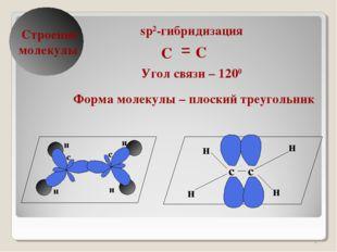 * δ Строение молекулы sp2-гибридизация Угол связи – 1200 Форма молекулы – пло