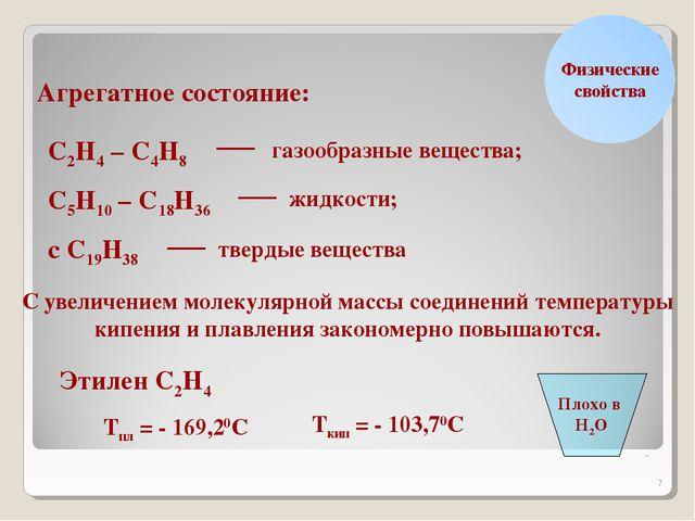* Физические свойства Агрегатное состояние: С2Н4 – С4Н8 газообразные вещества...