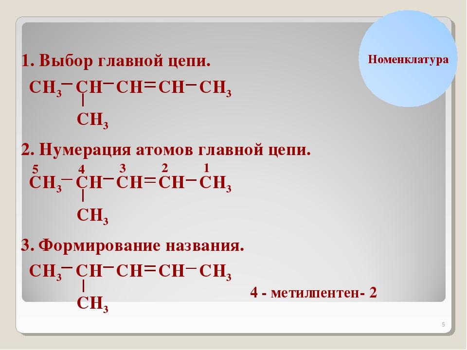 * Н С Номенклатура 1. Выбор главной цепи. Н Н3 С С С С С СН3 Н Н Н3 2. Нумера...