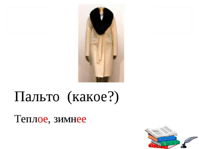 Пальто (какое?) Теплое, зимнее