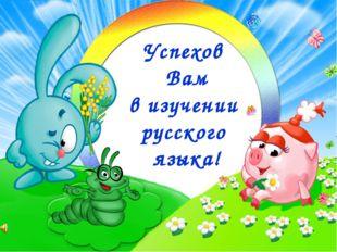 Успехов Вам в изучении русского языка!