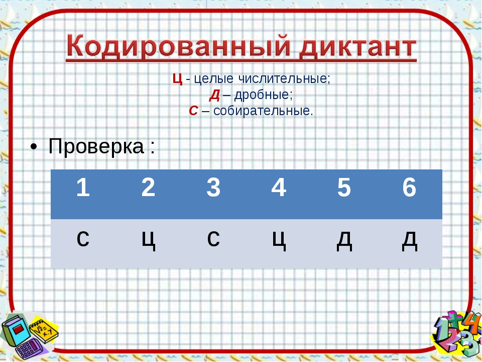 Проверка : Ц - целые числительные; Д – дробные; С – собирательные. 12345...