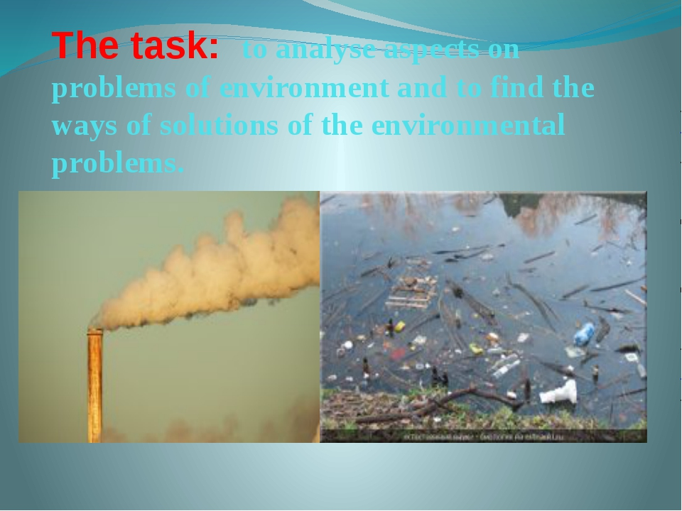 The task: to analyse aspects on problems of environment and to find the ways...