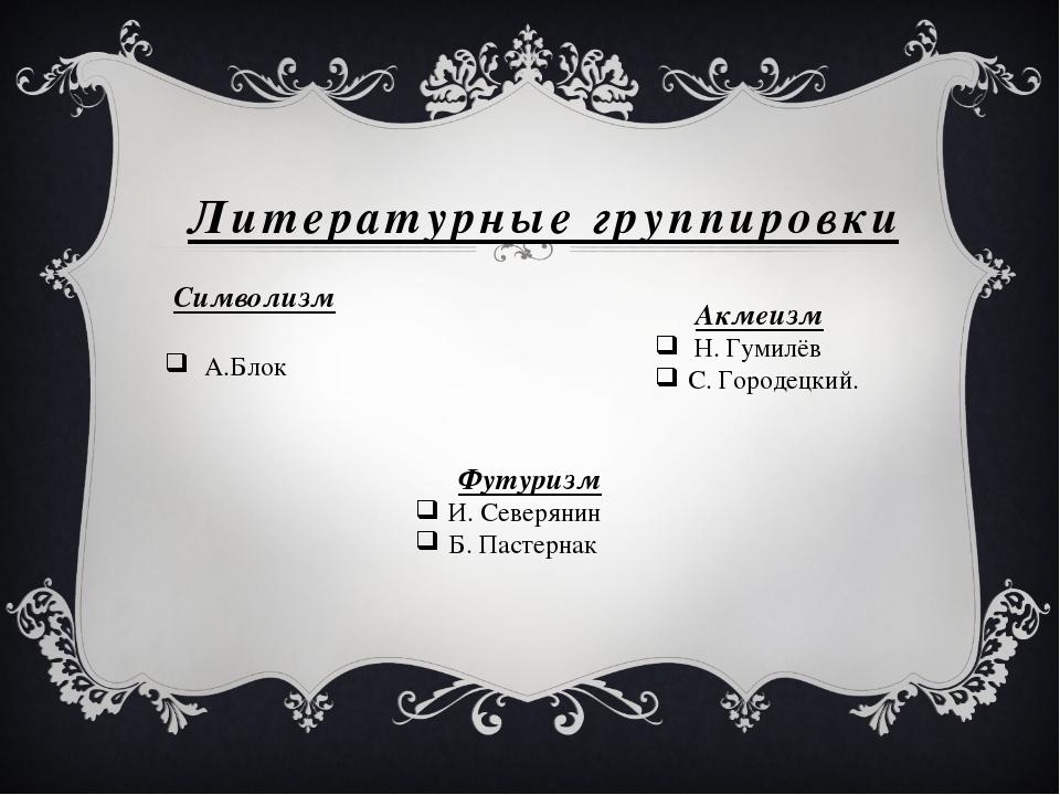 Литературные группировки Символизм А.Блок Акмеизм Н. Гумилёв С. Городецкий. Ф...