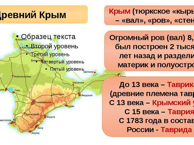 Древний Крым Крым (тюркское «кырым») – «вал», «ров», «стена» Огромный ров (в...