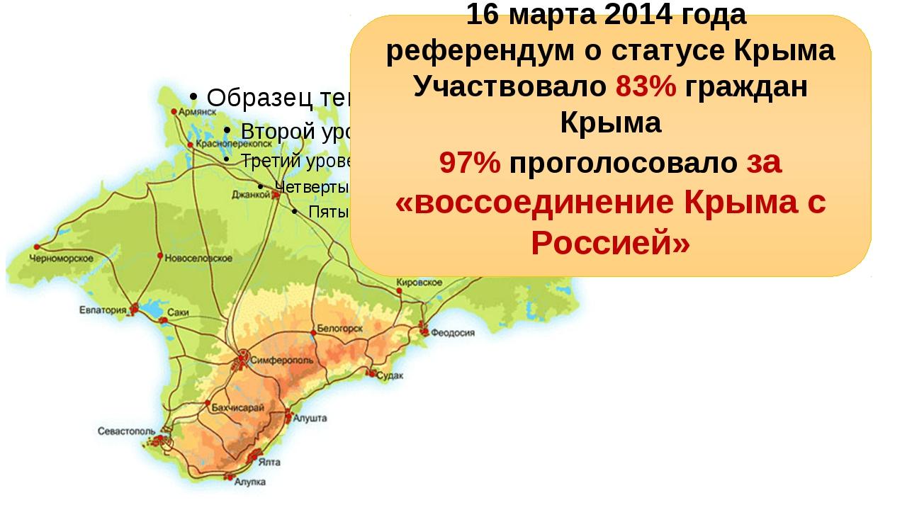 16 марта 2014 года референдум о статусе Крыма Участвовало 83% граждан Крыма...