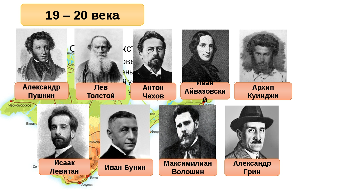 19 – 20 века Александр Пушкин Лев Толстой Антон Чехов Иван Айвазовский Архип...