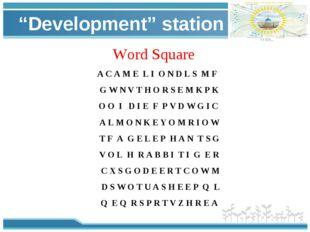 """Development"" station Word Square A C A M E L I O N D L S M F G W N V T H O R"