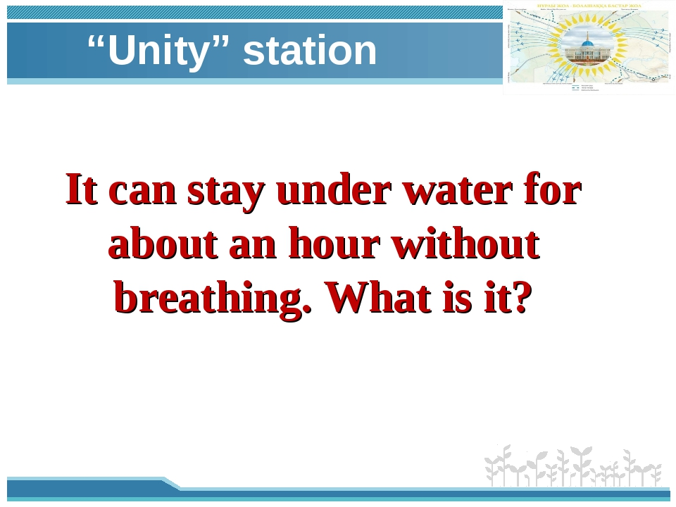 """""""Unity"""" station It can stay under water for about an hour without breathing...."""