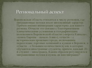 Воронежская область относится к числу регионов, где миграционные потоки носят