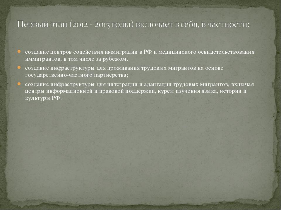 создание центров содействия иммиграции в РФ и медицинского освидетельствовани...