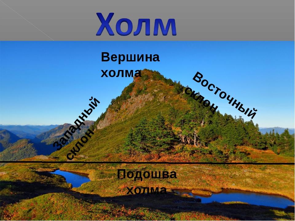 Подошва холма Вершина холма Западный склон Восточный склон