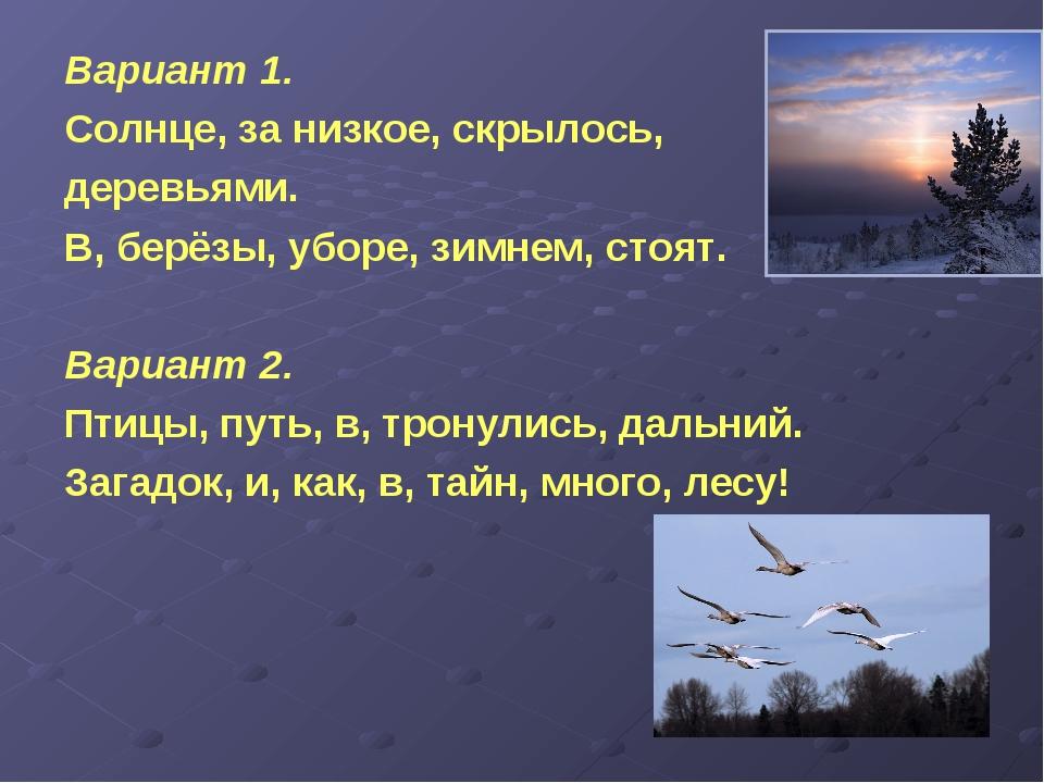 Вариант 1. Солнце, за низкое, скрылось, деревьями. В, берёзы, уборе, зимнем,...