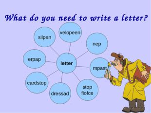 What do you need to write a letter? letter silpen velopeen nep mpast erpap ca