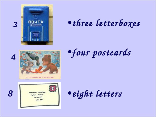 3 4 8 three letterboxes four postcards eight letters