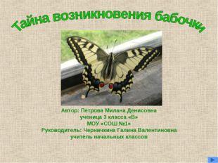 Автор: Петрова Милана Денисовна ученица 3 класса «В» МОУ «СОШ №1» Руководител