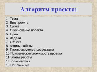 Алгоритм проекта: Тема Вид проекта Сроки Обоснование проекта Цель Задачи Объе