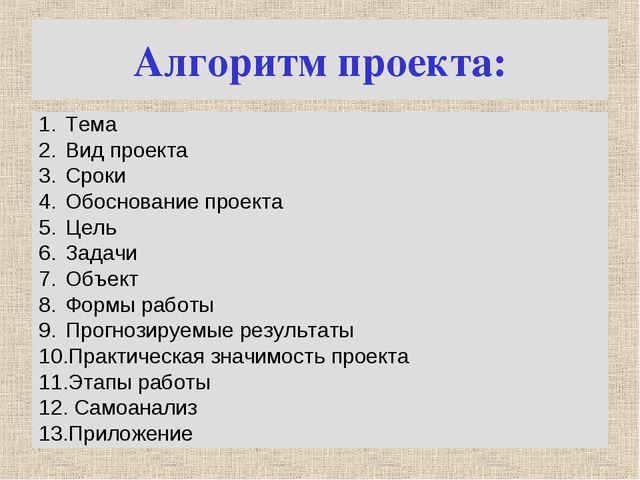 Алгоритм проекта: Тема Вид проекта Сроки Обоснование проекта Цель Задачи Объе...