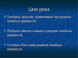 Цели урока Повторить свойства, применяемые при решении линейных неравенств; О