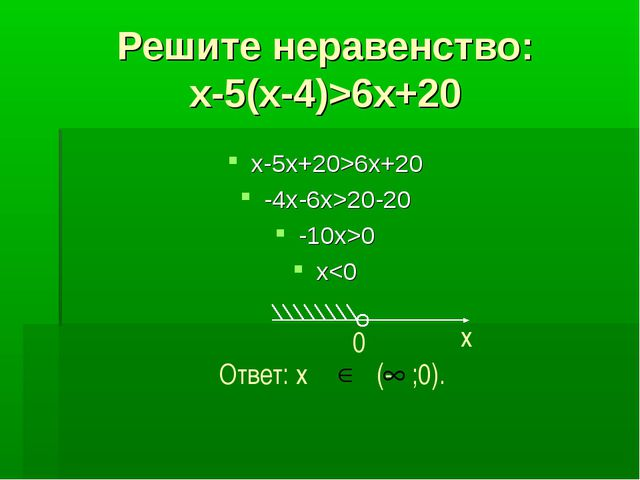 Решите неравенство: x-5(x-4)>6x+20 x-5x+20>6x+20 -4x-6x>20-20 -10x>0 x