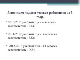 Аттестация педагогических работников за 3 года 2010-2011 учебный год – 4 чело