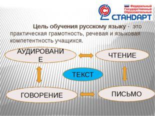 Цель обучения русскому языку - это практическая грамотность, речевая и язык