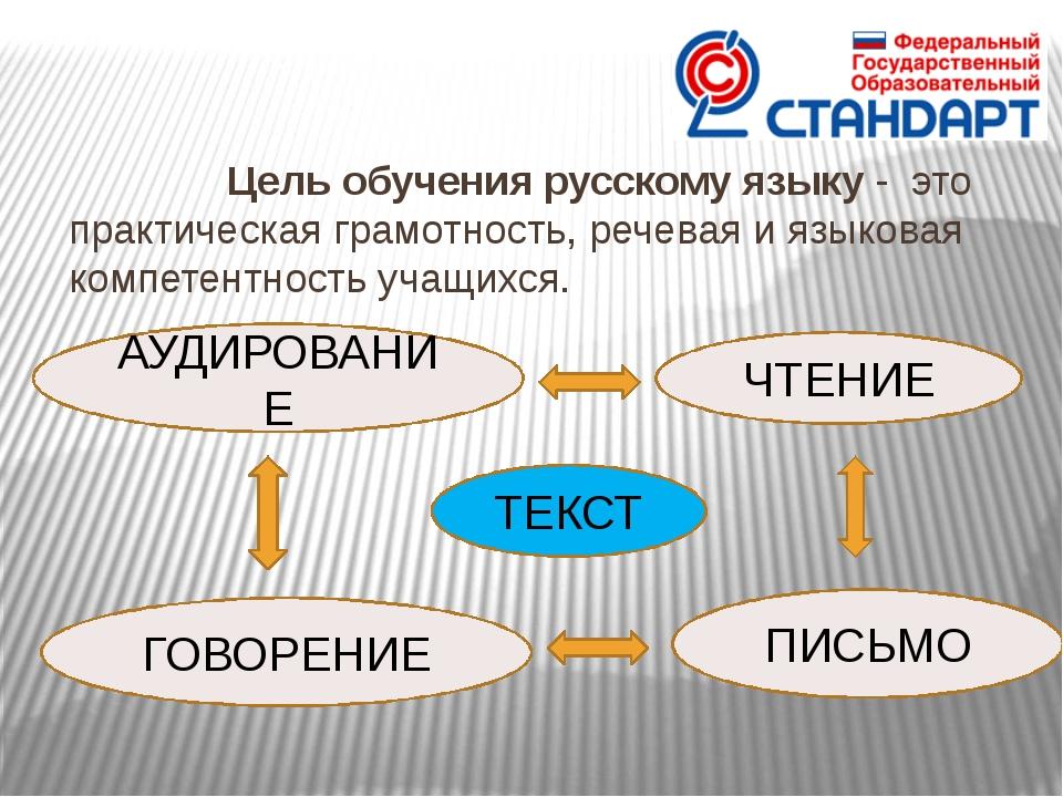 Цель обучения русскому языку - это практическая грамотность, речевая и язык...