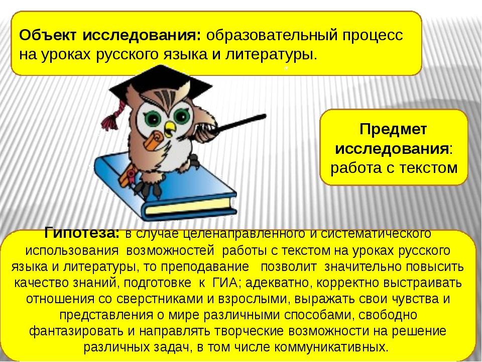 Объект исследования:образовательный процесс на уроках русского языка и литер...
