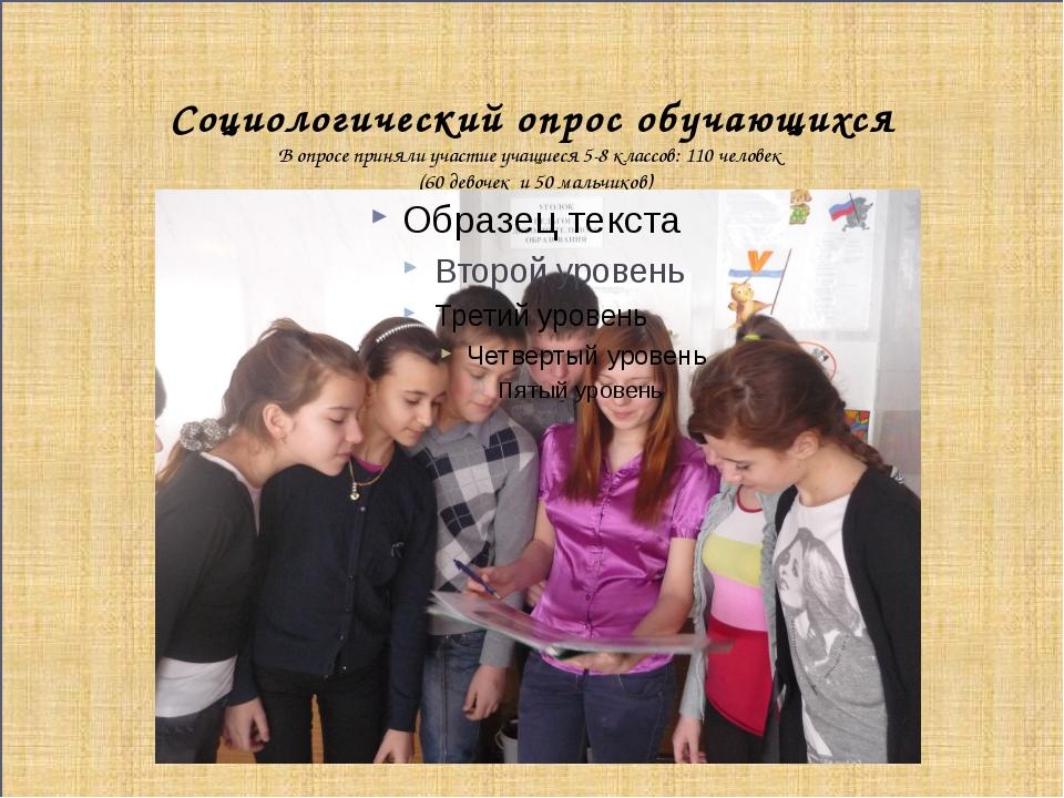 Социологический опрос обучающихся В опросе приняли участие учащиеся 5-8 клас...