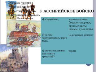 3. АССИРИЙСКОЕ ВОЙСКО а)вооружение; железные мечи, боевые топорики, круглые щ