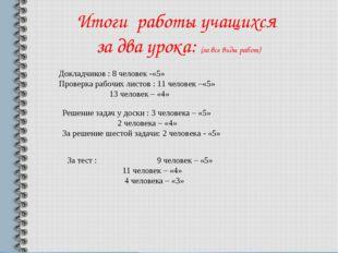 Итоги работы учащихся за два урока: (за все виды работ) Докладчиков : 8 чело