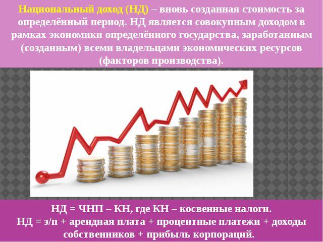 Национальный доход (НД) – вновь созданная стоимость за определённый период. Н...