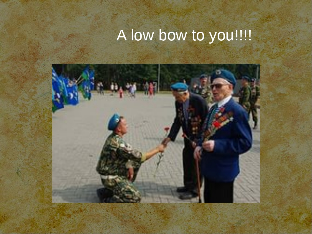 A low bow to you!!!!