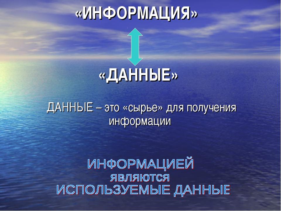 «ИНФОРМАЦИЯ» «ДАННЫЕ» ДАННЫЕ – это «сырье» для получения информации