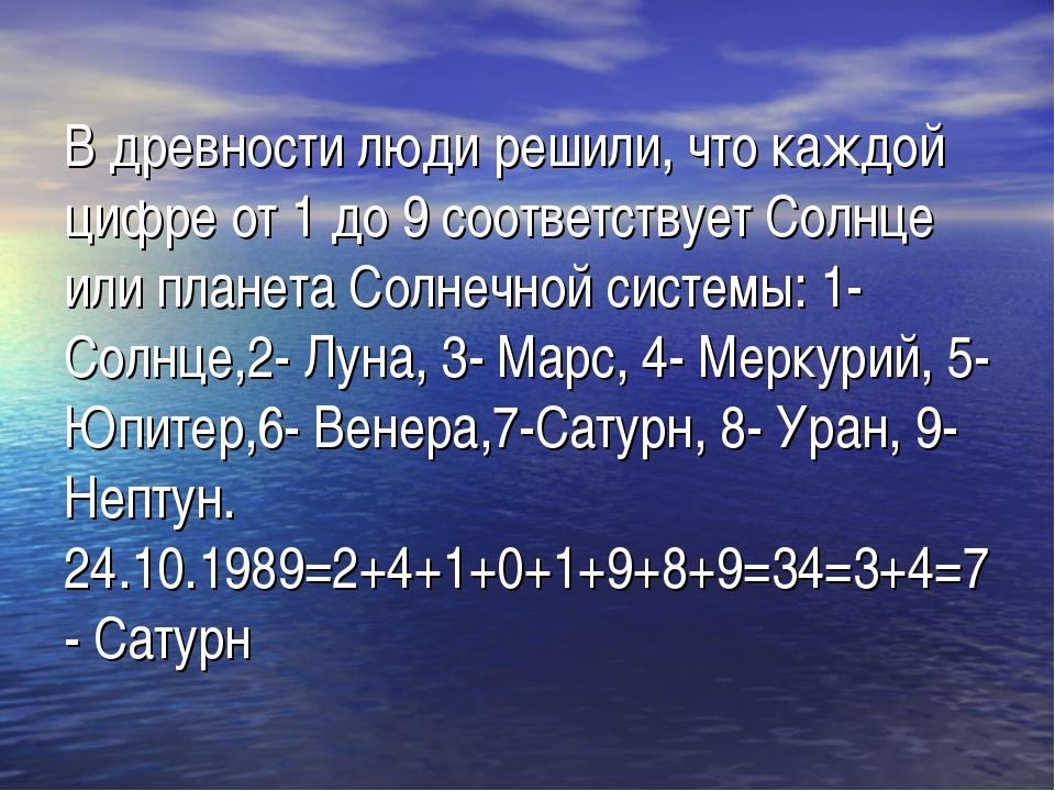 В древности люди решили, что каждой цифре от 1 до 9 соответствует Солнце или...