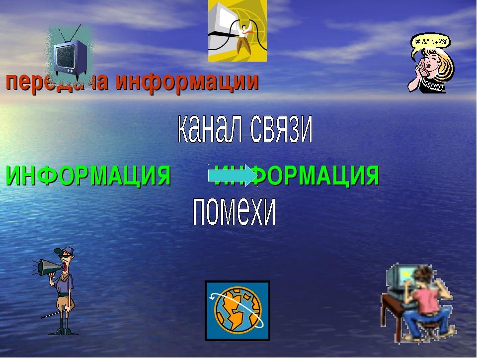 передача информации ИНФОРМАЦИЯ ИНФОРМАЦИЯ