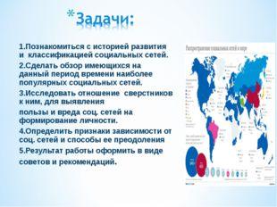 1.Познакомиться с историей развития и классификацией социальных сетей. 2.Сдел