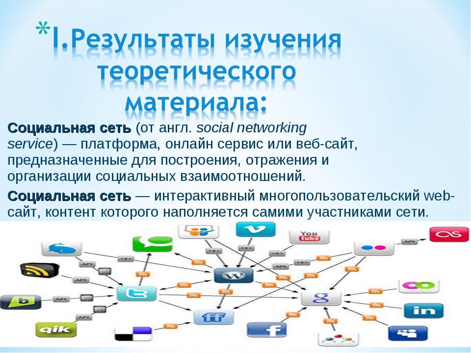 Социальная сеть(отангл.social networking service)—платформа,онлайн серв...