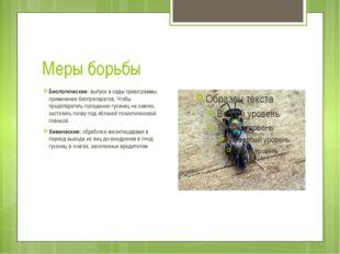Меры борьбы Биологические: выпуск в сады трихограммы, применение биопрепарато
